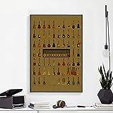 UIOLK Clásico Retro violín Arma Baloncesto Uniforme Cartel Retro colección clásica Lienzo Pintura Mural nórdico café decoración de la Sala de Estar