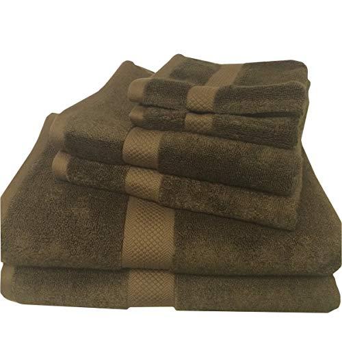 Royal Hotel Juego de 6 toallas de mezcla de rayón marrón oscuro de bambú, incluye 2 toallas de baño, 2 toallas de mano, 2 ropa de lavado