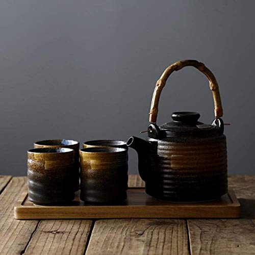 SGSG Exquisite Tea Set, Ceramic Teapot 1000ml, Tea Cup 170ml, Home Outdoor, Suitable for Home Office for Household