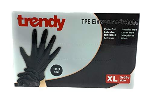 MC-Trend - 100 guantes desechables de TPE, color negro, sin polvo, sin látex, en caja dispensadora, extra-large