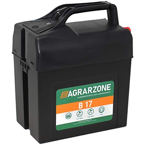 Agrarzone Électrificateur de clôture B17 9V/12V, 0,25 Joule   Électrificateur pour fonctionnement sur batterie   Sécurité optimale   Électrificateur à utilisation mobile pour pâturages