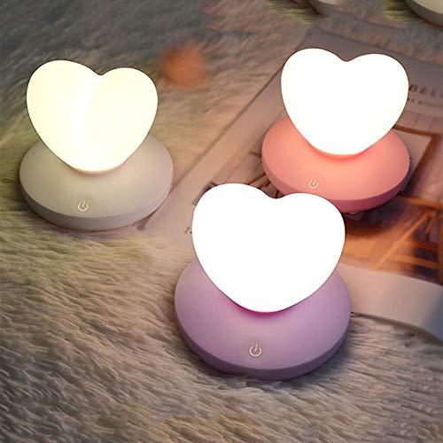 Dimmable Led Nuit Lumière Lampe Silicium Bright Love Heart Pour Bébé Enfants Enfants Cadeau Chevet Chambre Salon Décoration Violet