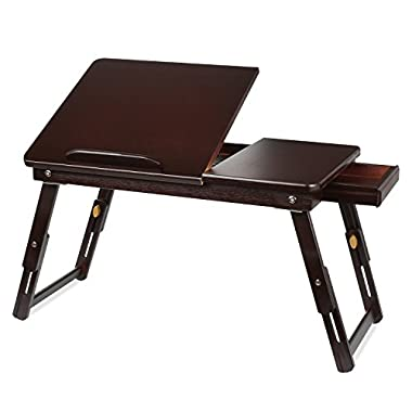 HOMFA Bamboo Laptop Desk Adjustable Portable Breakfast Serving Bed Tray with Tilting Top Drawer Retro Color