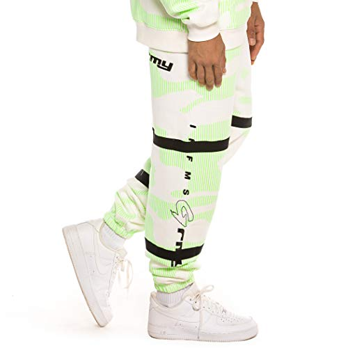 GRIMEY Pantalón Looter Cult Neon Sweatpants FW19 White-S