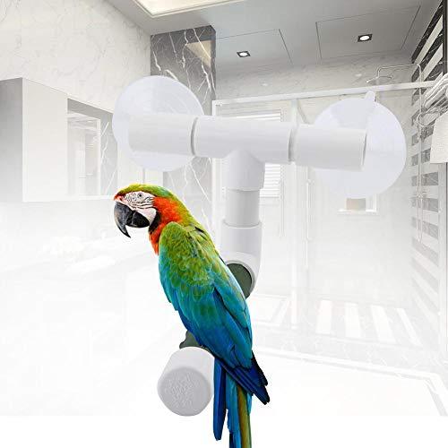 Pangding Pájaro Perchas, Loros Budgie Ventosa Plegable Ventana Ducha baño Pared Pared Pata Pulido Soporte Perca Juguete