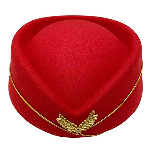 Ingeniously Stewardess Cap Imitation Wool Woolen Stewardess Cap Temperament Damen Baskenmütze Bühnenshow Out Hotel Rezeption Etikette Uniform Hut Band Hut für Arbeit und Rollenspiel