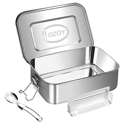 OZOY Edelstahl Brotdose für Erwachsene mit Fächern inkl. Ersatzdichtung - Frischhaltedose mit Trennwand auslaufsicher (1200ml)