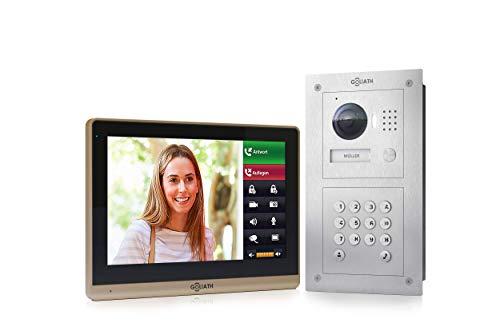 Goliath IP Video deurintercom, inbouw, HD-deurstation, roestvrij staal, app met deuropener functie, 10,2 inch touchscreen, codeslot, 1 familiehuis