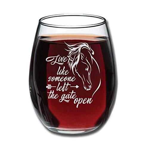 CATNEZA Libbey Rode Wijnglas - Leef als iemand links De Poort Open Gegraveerde Tumbler Perfect voor Afstudeerden Verjaardagen 12 oz