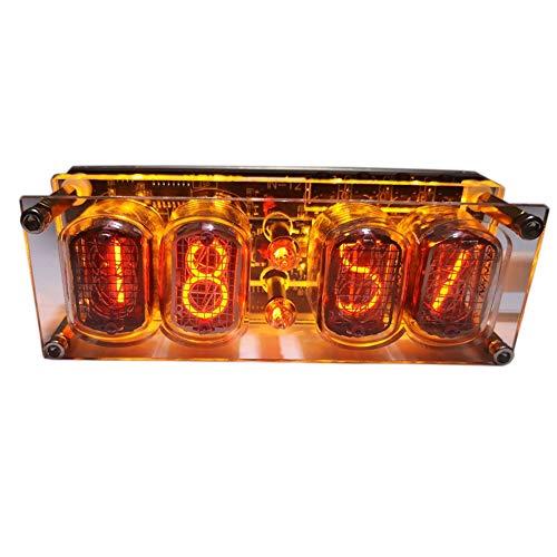 Kamenda Reloj de 4 DíGitos con Tubo Luminoso IN-12 Ensamblado RetroiluminacióN LED Colorida DS3231 Reloj Nixie DC5V Reloj ElectróNico USB con Tubo