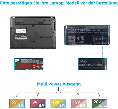 NEUE DAWN 65W USB C Netzteil Type C Adapter PD Netzteil Laptop Ladekabel für Lenovo ThinkPad Huawei Matebook Pro HP Notebook Asus Acer Dell Xiaomi Air PC Typ C Charger AC Adapter Ladegerät