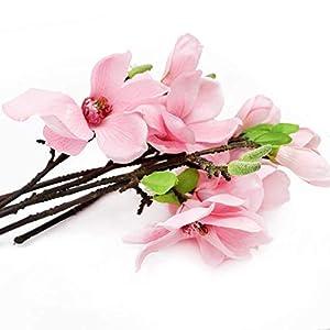 Develoo 6 PCS Artificial Magnolia Flowers Picks, Real Touch Fake Magnolia Flowers with Stem Artificial Plant Home Office Wedding Table Foral Arrangements Decor