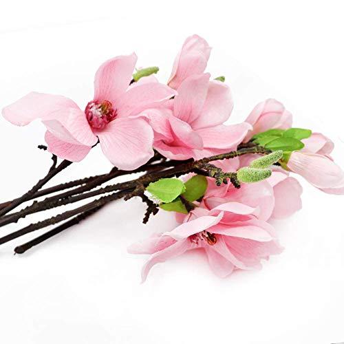 BYHUACN Künstliche Magnolien, Seidenblumen, 2 Köpfe, für Zuhause, Tisch, Büro, Vase, 6 Stück
