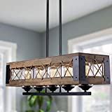 """Farmhouse Chandelier, 32"""" Kitchen Island Lighting in Rustic Wood and Metal for Dining & Living Room, Foyer, Pool Table Room"""