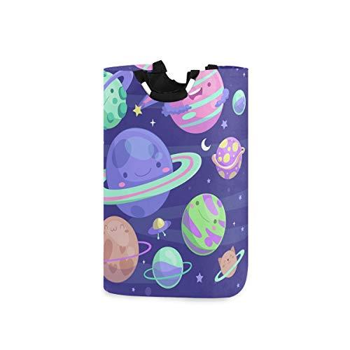 RunningBear Cesta de lavandería para lavar la ropa – Coloridos planetas sistema solar plegable de gran capacidad para la ropa de baño, organización de la ropa
