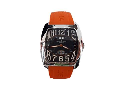 Reloj Officina del Tempo Caballero Caucho Naranja y Esfera Negra 42 mm. W.R. 5 ATM