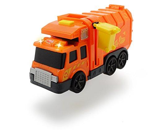 Dickie Toys City Cleaner, Müllauto, Müllabfuhr, Müllwagen, Straßenreinigung, Spielzeugauto mit Mülltonne, Licht & Sound, inkl. Batterien, 15 cm, grün, ab 3 Jahren