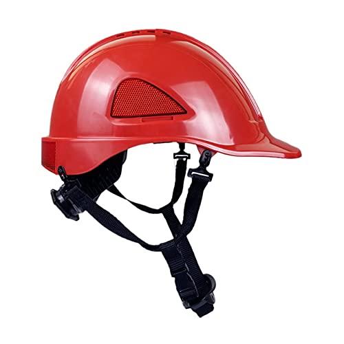JSJJAEY Casco ABS Hat Hat Fibra de Carbono Patrón de construcción Casco de Seguridad Ingeniero Tapa de Trabajo Anti-Smashing Reflective Subfectivo Sombrero (Color : Red)