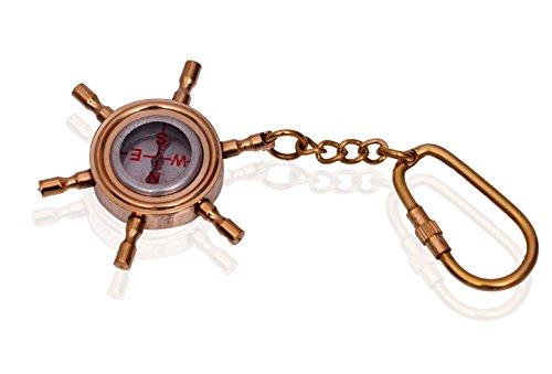 Purpledip sleutel ketting/ring/haak kompas: in sculpturen gevormd massief messing metaal; uniek cadeau-idee (10585)