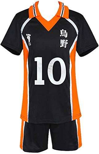 Qian Qian Unisex Haikyuu Kostüm High School Volleyballanzug Karasuno Hinata Shoyo Tobio Kageyama Halloween Cosplay Hemd Shorts (Medium, Stil 10)
