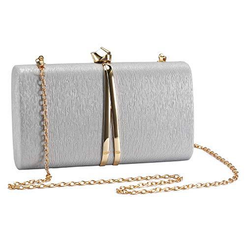 UBORSE Bolso de Fiesta Noche Moda para Mujer Embrague Hard Shell Clutches Elegante Bolso de Hombro Billetera Carteras de Mano del Banquete Boda Señoras,Plateado