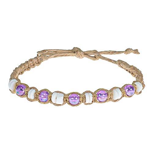 BlueRica Puka Shells & Purple Glowbeads on Hemp Anklet Bracelet