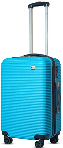 ATX Luggage Medium 24' Super Lightweight Durable Hold Check in Suitcases Travel Bags Trolley Case with 8 Wheels Built-in 3 Digit Combination Lock (Blue 119)