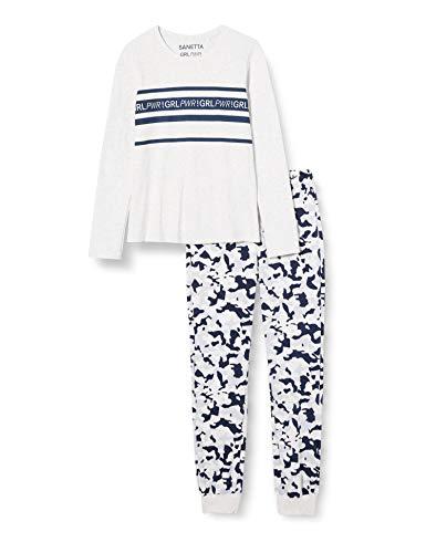 Sanetta Mädchen Schlafanzug Ecru Melange Langer Pyjama aus der Athleisure-Serie modischen Camouflage Look, beige, 152