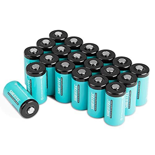 20 PCS Shentec Pilas CR123a 3V de Litio no Recargables 1600mAh Batería CR123A para Linterna, Cámara Digital, Videocámara, Juguetes, Antorcha NO PARA ARLO