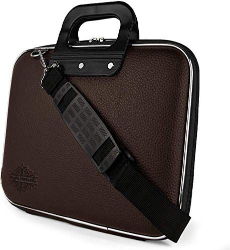 Rudra Exports Laptop Messenger Bag Tablet and Executive Office Bag for College/School/Business/Women/Man Unisex Hard Shell Briefcase Laptop Bag with Strap Brown (15.6 Inch)