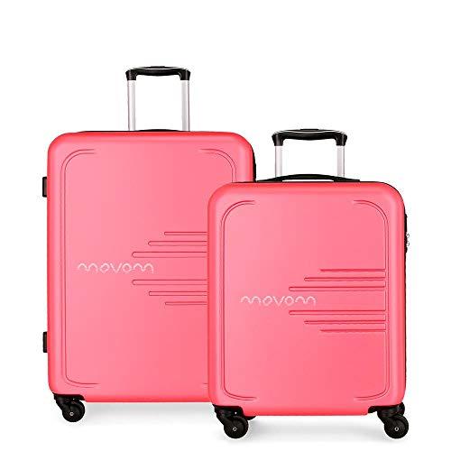 Juego de 2 maletas rígidas 55-69 Movom Flash rosa