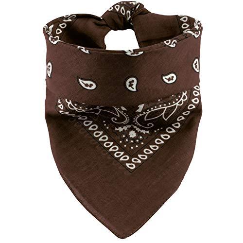 Oramics Bandana Koptuch Halstuch – 55 x 55 cm, gemustert: Paisley Muster – in verschiedenen Farben aus 100% Baumwolle, modernes Nikituch gegen Wind und Kälte (Braun New)