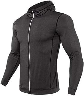 BEESCLOVER New Rashgard Hooded Running T Shirt Men Sport Shirt Men Zipper Hoody Gym T Shirt Compression Shirt Fitness Tshirt Training Tight Dark Gray Asian L