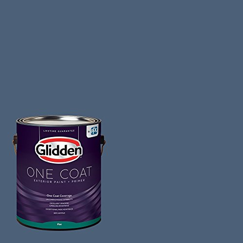 Glidden Exterior Paint + Primer: Blue/Blue Fjord, One Coat, Flat, 1-Gallon