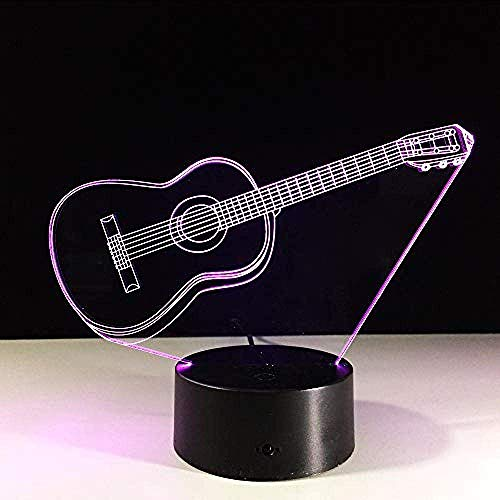 Luz nocturna pequeña guitarra con luz 3D 7 colores LED luz nocturna para niños táctil LED lámpara de escritorio USB luz nocturna luz nocturna con sensor de movimiento