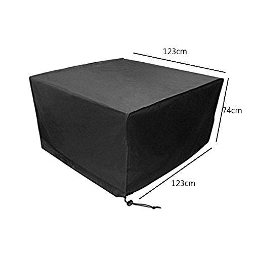 Deylaying Noir Table Chaise Meuble de Rangement Housse de Protection pour extérieur étanche Jardin Patio 123 * 123 * 74CM