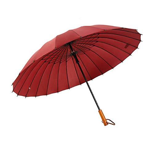 SCKL Stockschirme Mit 24 Fiberglas Rippen Wind- Und Wasserdichter Kompaktschirm Holzgriff Lange Gerade Golf Regenschirm 113Cm Groß Regenschirm,Rot