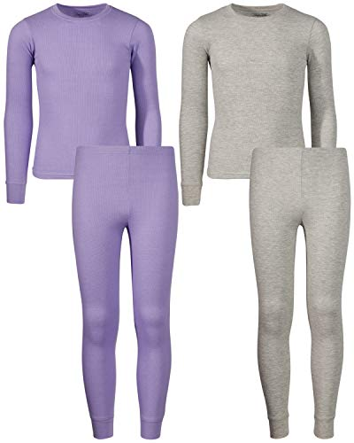 Rene Rofe Girl Waffle Thermal Underwear Top and Pant Set (2 Full Sets), Lavender/Heather Grey, 3T