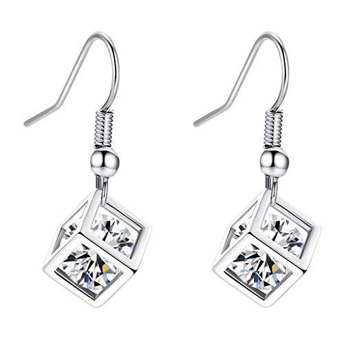 Fenverk Damen ohrringe silber perlen ohrringe-perlenohrringe ohrringe haengend creolen Kristall silber(Silber)