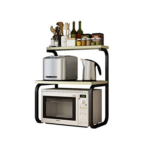 GOHHK Küchenbedarf Lagerregal Mikrowellen-Rost 3-stufige Gewürzregale Topfrost Elektroherd Regal Weiß Ahorn Farbe