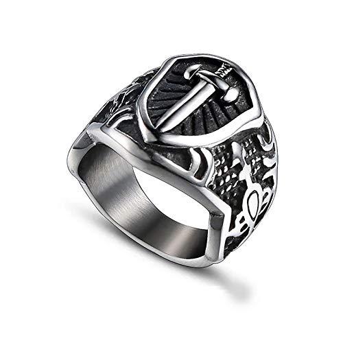 HHW Punk Arthur Sword Ring, Shield Ring Vintage Cross Sign,Punk Gift Stainless Steel,8