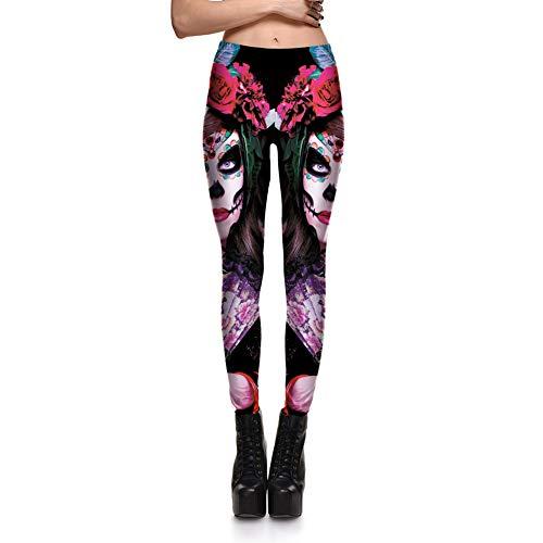 CKUZI 3D-Druck Yoga-HosenLeggins Halloween Skull Girl Digitaldruck Damen Leggings Fantastic Gothic Style Süße Ankle Pant