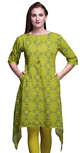 Bimba Gelb marokkanisch Damast Indische Tunika Tops für Mädchen gedruckt Casual Top für Frauen ethnischen Kurti 2X-Large