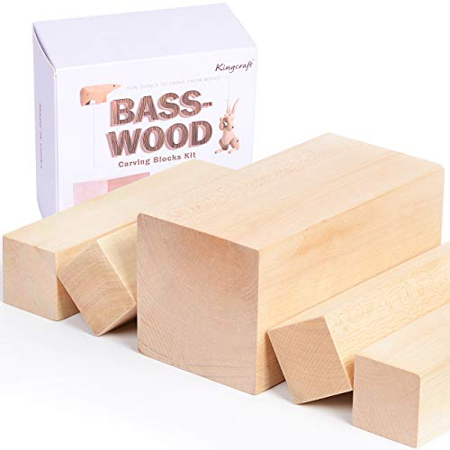 5 Pack Extra Large Basswood Carving Blocks Soft Solid Wooden Whittling Kit for Whittler Starter Kids Adults Beginner to Expert(XL-6x3x3inch)