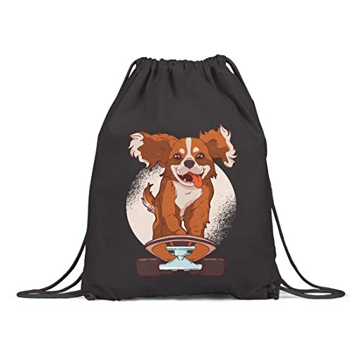 BLAK TEE Cute King Cavalier on a Skate Board Illustration Organic Cotton Drawstring Gym Bag Black