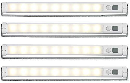 Lunartec LED Lichtleiste Batterie: 4er-Set Schwenkbare Lichtleisten, PIR-Sensor, 9 SMD-LEDs, warmweiß (LED Lichtleiste batteriebetrieben)