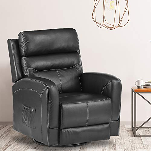 New Massage Recliner Chair Heating PU Leather Ergonomic Lounge Chair for Living Room Home Theater Seating Heated Overstuffed Single Sofa with Side Pockets, 360 Degree Swivel (PU Leather-Black)