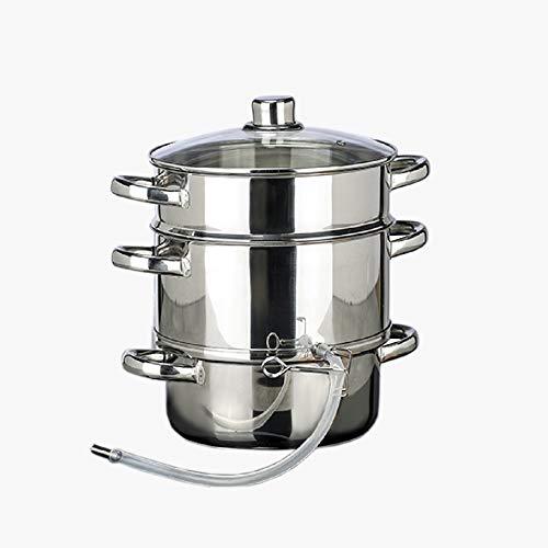 Induktion Dampf Entsafter, Fruchtpresse Edelstahl ca. 6 l mit Glasdeckel geeignet für folgende Kochstellen: Gas, Elektro, Glaskeramik und Induktion