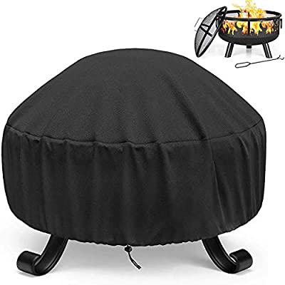 Einemgeld Fire Pit Cover, Waterproof Breathable Outdoor Garden Patio Protective Cover with Drawstring and Thick PVC Coating, Heavy Duty Rip Proof Oxford Fabric Outdoor Fire Bowl Cover(85 * 40cm) from LvNuooM