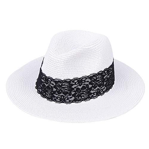 Europa Y América Sombrero De Paja Estilo De Hombres Y Mujeres del Todo-Fósforo del Sombrero del Sol De Turismo Plegable Plana ala del Sombrero Superior,Pure White,Lace